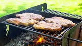 mutton : meat roasting on an open fire pork steak on an open fire 4k