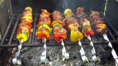 pork meat : Bar-BQ or BBQ with kebab cooking. coal grill of chicken meat skewers with mushroom and peppers. barbecuing dinner