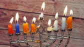 brochura : Jewish holiday Hanukkah creative background with menorah. View from above focus on .