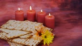 matzo : Background with matzo for Jewish Passover celebration Stock Footage