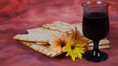 İbranice : wine and matzoh jewish passover bread Passover matzo Passover Stok Video