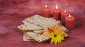 matzo : Background with matzo and wine for Jewish Passover celebration