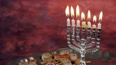 zsidóság : Jewish holiday Hanukkah creative background with menorah. View from above focus on .