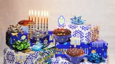 alışılmadık : Jewish holiday Hanukkah creative background with menorah. View from above focus on .