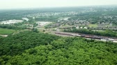 Aerial View. Flight over a green forest, Stok Video