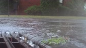 storm drain : Heavy rain falling on the street and flowing through sewer drain
