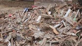 demolida : house destroyed bricks, sticks trees, debris beam natural disaster
