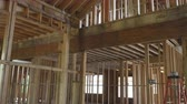odolný : Wood framing work in progress with wood framing walls and ceiling or floor joist on new construction building