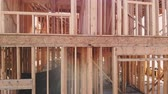 переделывать : Wood Building frame at Multi-Family Housing Construction Стоковые видеозаписи