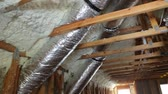 pipes, valves close up installation of heating system on the roof of the pipe house heating system Stockvideo