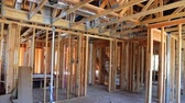 New Construction Wood Home Framing Abstract. Stok Video