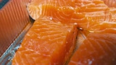 bistecche : Red salmon fillet Close up