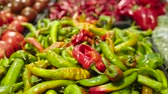 rode paprika : Fresh Raw hot green pepper in a counter of market