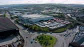 lined up : 4K Aerial shot of Royal Mail Postal Depot in Sheffield Stock Footage