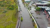 sete : Sheffield, UK - 8th November 2019: Aerial view - The River Don floods after flash floods flooding local offices and buildings in Yorkshire.
