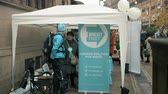 electing : Sheffield, UK - 30th November 2019: The right wing Brexit Party set up a stall and hand out leaflets to the public in the middle of Sheffield during the Christmas markets