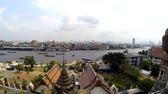 Bangkok, Thailand, February 2014, Timelapse Navigation on Chao Phraya river in front  of famous Wat Po temple