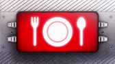 aviso : Dinner icon on the signboard. Looping.