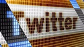 Twitter on the blue screen. Twitter is an online social network. Stock Footage