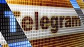 Telegram in the blue screen. Telegram is an online social media network. Stock Footage
