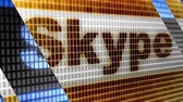 Skype in the blue screen. Skype is a free voip service.