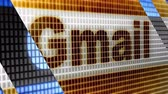 Gmail in the blue screen. Gmail is popular e-mail. Stock Footage