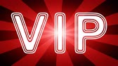 gestaltung : VIP icon in red abstract background with rays. Looping footage with Prores 4444 and 4K resolution.