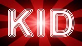 Kid icon in red abstract background with rays. Looping footage with Prores 4444 and 4K resolution.