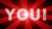 You! icon in red abstract background with rays. Looping footage with Prores 4444 and 4K resolution.