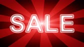 Sale icon in red abstract background with rays. Looping footage with Prores 4444 and 4K resolution.