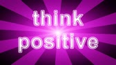 Think positive icon in red abstract background with rays. Looping footage with Prores 4444 and 4K resolution.