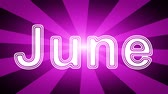 semanal : June icon in red abstract background with rays. Looping footage with Prores 4444 and 4K resolution.