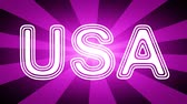 gestaltung : USA icon in red abstract background with rays. Looping footage with Prores 4444 and 4K resolution.