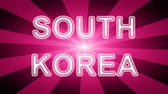 gestaltung : South Korea icon in red abstract background with rays. Looping footage with Prores 4444 and 4K resolution. Videos
