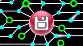 アーカイブ : Save icon on circuit board. Looping footage. Illustration. 動画素材