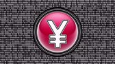 Yen icon. Binary code ( array of bits ) in the screen. Looping footage. Illustration.