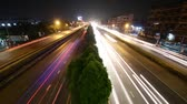 intersection : Highway traffic multiple lane, time lapse Stock Footage