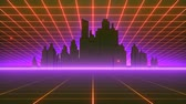 Retro-futuristic 80s synthwave grid background. Perfectly looped opener animation.