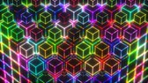 Neon VJ Loop Colorful Lights Cubes 4k Video Background
