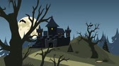 morcego : Halloween haunted castle, trees, bats, and a full moon Stock Footage