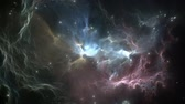 Flying through nebula and star fields after the supernova explosion in deep space, animation Stock mozgókép