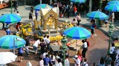 ibadet : BANGKOK, THAILAND - 15 MAR : Tourist visit at Erawan Shrine on 15 March 2019 in Bangkok, Thailand