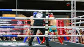 amatör : BANGKOK, THAILAND - 15 MAR : Unidentified kick boxing fighter fighting at boxing ring on 15 March 2019 in Bangkok, Thailand Stok Video
