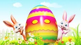 spring : Illustration of Easter bunny with colorful egg Stock Footage