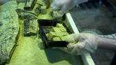 Locked shot with scene hands of Japanese chef arranging cubes warabimochi squares shape into plastic box