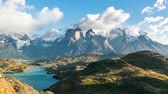 Патагония : Timelapse view of Cuernos del Paine at Patagonia, Chile Стоковые видеозаписи