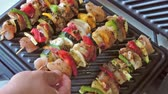 Shashlik skewered chicken meat with vegetables on electric grill