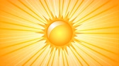 Rotating Sun with rays on yellow background. 4K UltraHD motion graphic seamless loop animation.