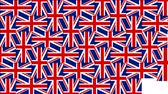 British pattern composed from national flags of the United Kingdom on background with alpha channel. 4K UltraHD motion graphic come in on scene and come out animation.