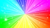 Rotating rays with burst effect and particles on colorful radial gradient background made of rainbow spectral colors. 4K UltraHD motion graphic animation.